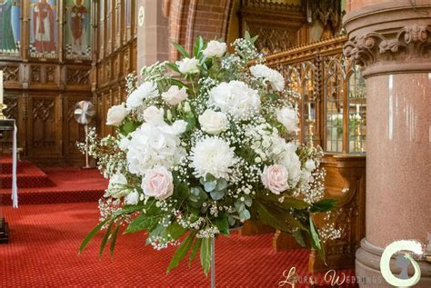 Blush pink and ivory flowers at Mottram Hall   Laurel Weddings
