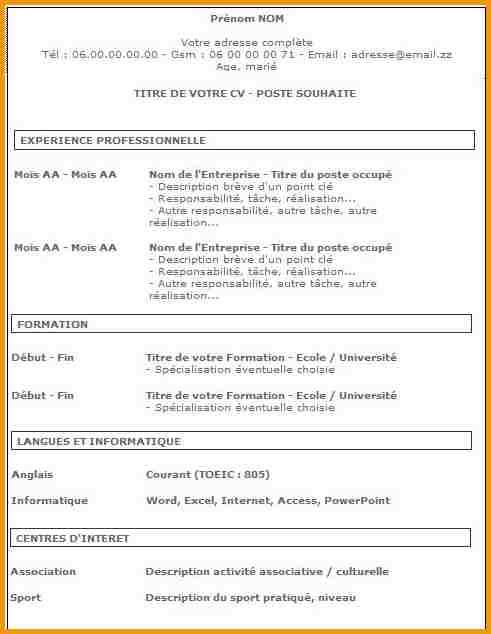 Exemple De Cv Pour Travailler Au Mcdo