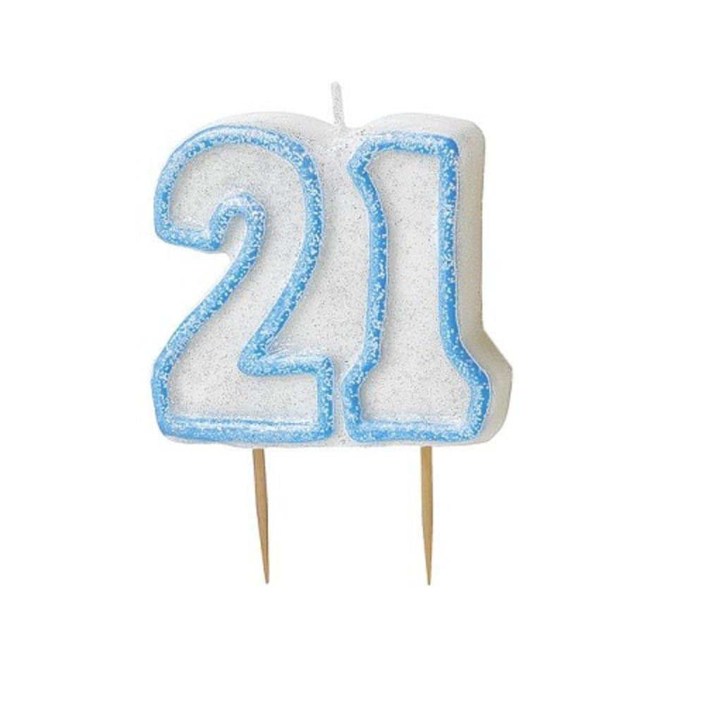 Blue Glitz Number 21 Candle 21st Birthday Cake Candles ...