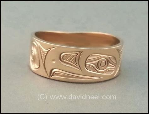 Eagle Ring   14K Gold Kwakiutl gold band, haida gold ring