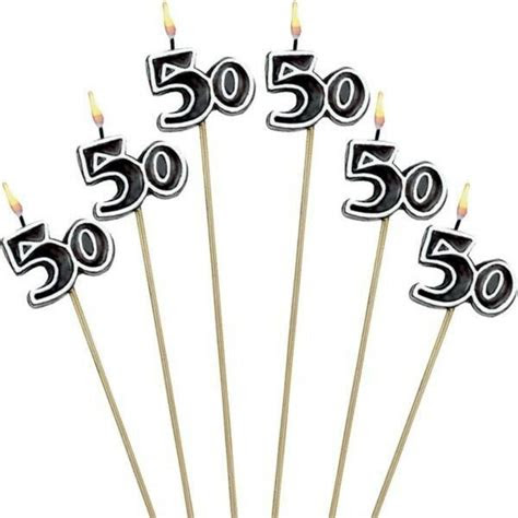 birthday candles cake toppers fiftieth fifty party