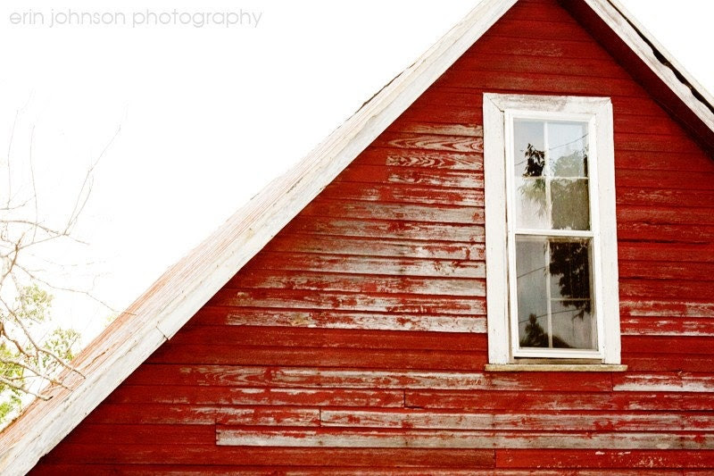 Window 5x7 -Burnt Corn, Alabama-Fine Art Photograph- old red barn, wood, gable, close up, rustic, country