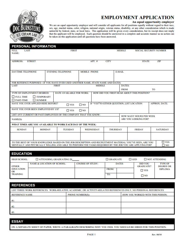 Free Printable Job Application Form Template Form Generic