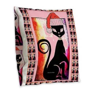 Santa Diva Cat Pink Burlap Throw Pillow