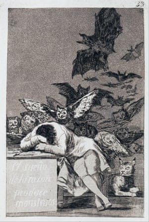 The Sleep of Reason Produces Monsters. (Capricho No 43). Found in the collection of State Hermitage, St. Petersburg.