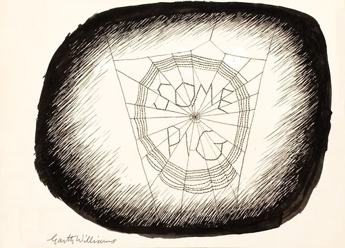 drawing of wood block with 'some pig' written on it in spider's web