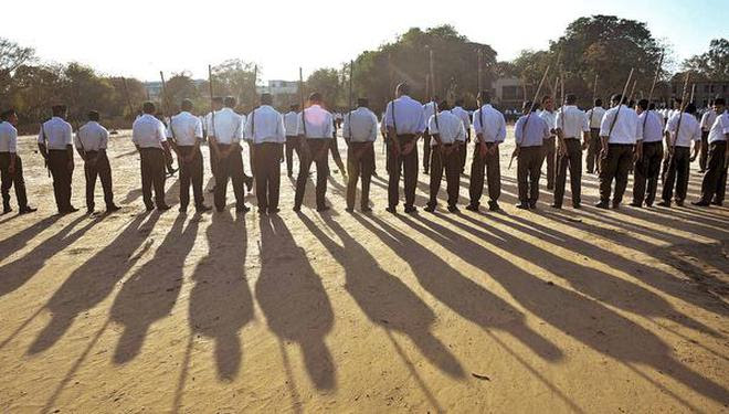 Active mode:About 50,000 swayamsevaks are set to work at the grass-roots level in support of the party.File Photo