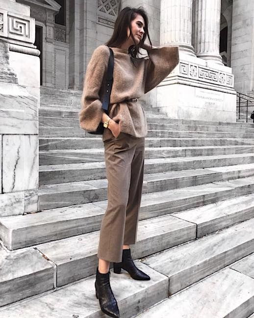 Le Fashion Blog Neutrals Belted Sweater Cropped Trousers Black Pointed Toe Boots Via @Ivanakordic