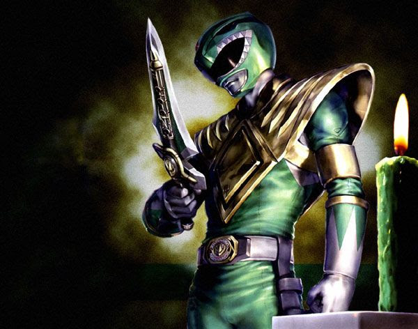An illustration depicting the Green Ranger welding the Dragon Dagger.
