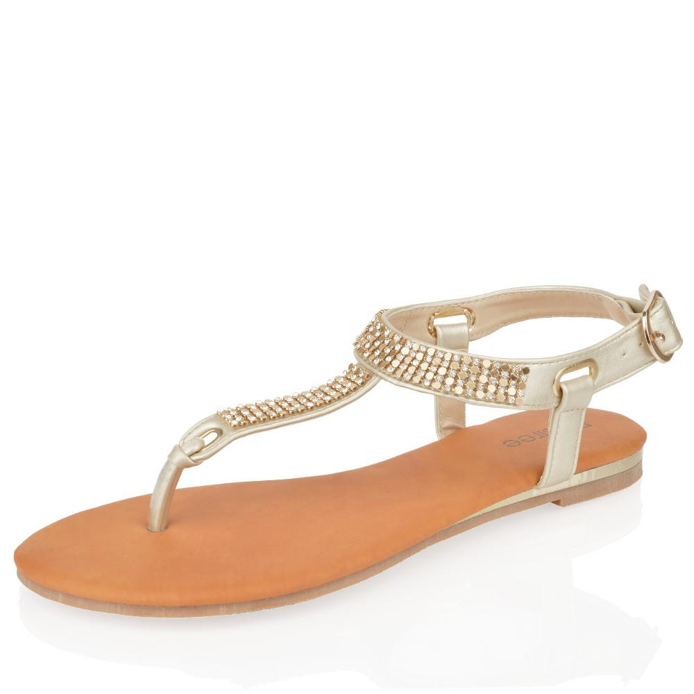 Gold Diamante Flat Sandals Uk Gold Sandals Heels