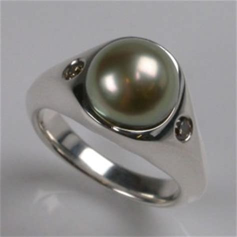 Bespoke Pistachio Pearl Engagement Ring Sterling Silver