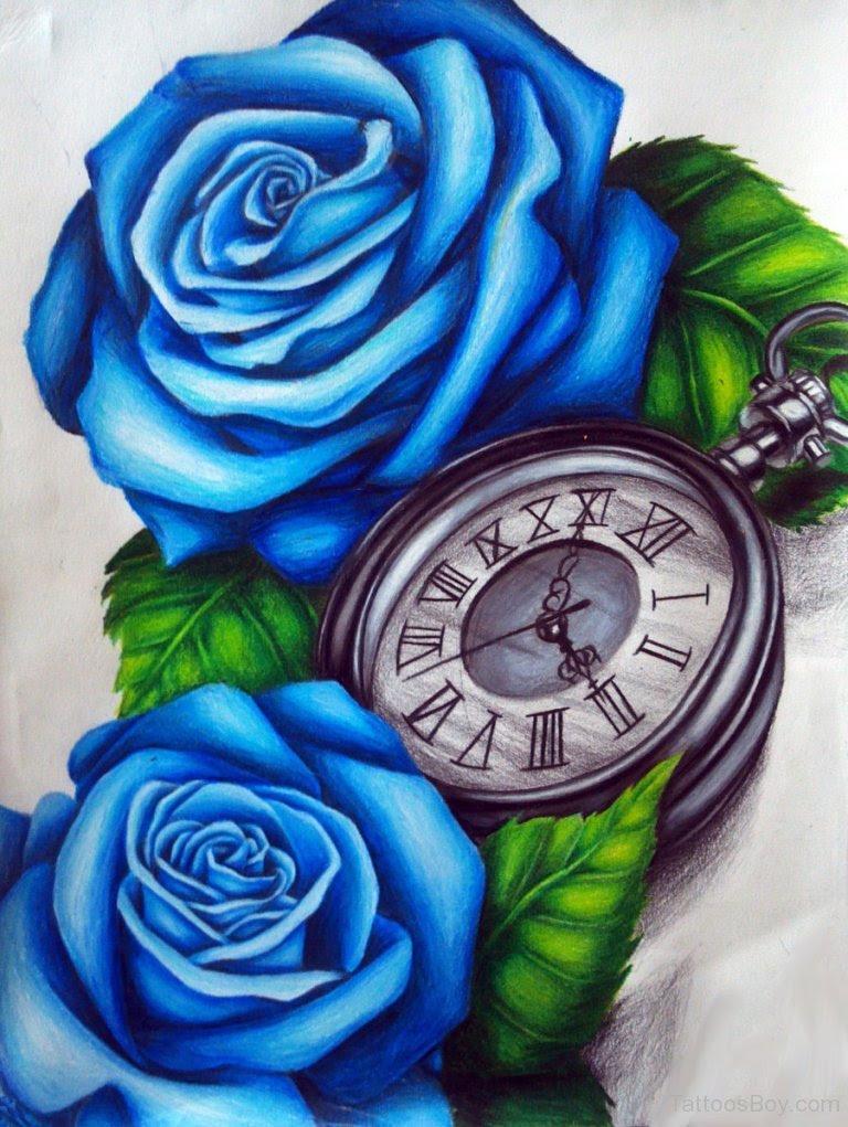 Blue Rose And Clock Tattoo Design Tattoo Designs Tattoo Pictures