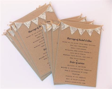 Order Of Service Cards, Rustic Wedding, Kraft Card With