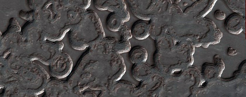 Carbon dioxide that turns from solid to gas carves out these strange shapes at Mars' south pole.