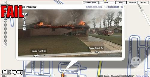 photo of house on fire taken by the google street view camera