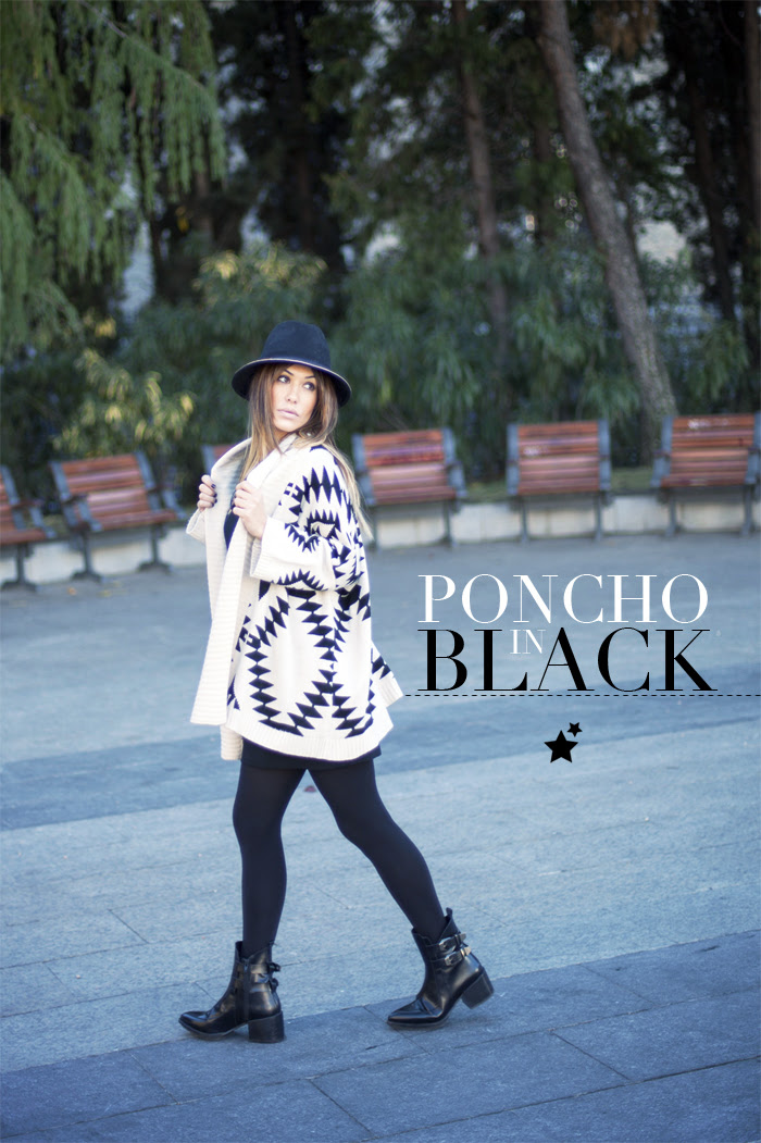 street style barbara crespo poncho in black hat zara booties outfitfashion blogger madrid