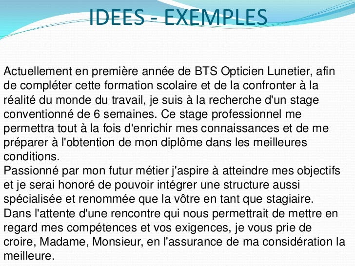 Lettre De Motivation Opticien Lunetier