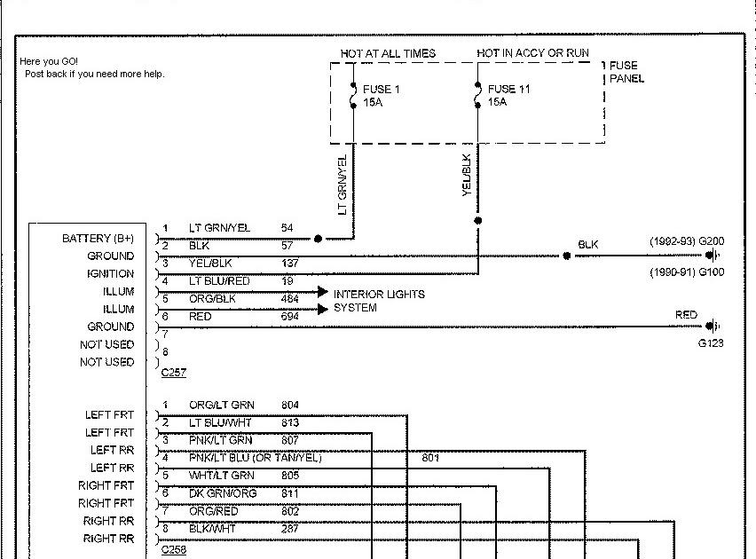 1993 Ford Explorer Speaker Wire Diagram - Wiring Diagram ...
