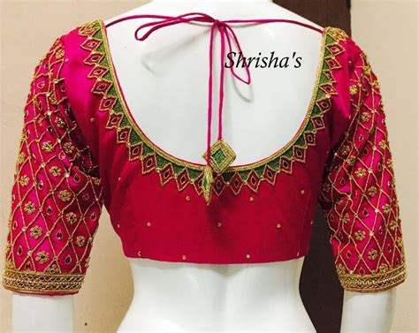 embroidery blouse back design from Shrishas . 26 February