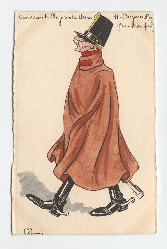caped Prussian soldier watercolour sketch