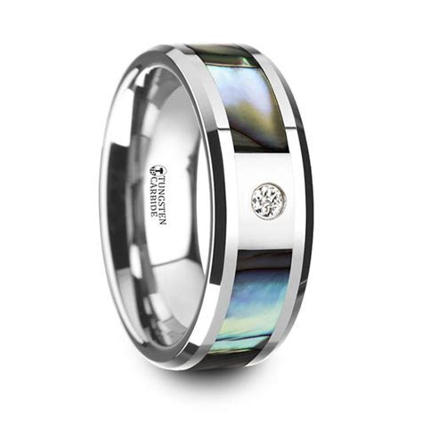 Mother of Pearl Men's Diamond Wedding Ring in Tungsten (8mm)