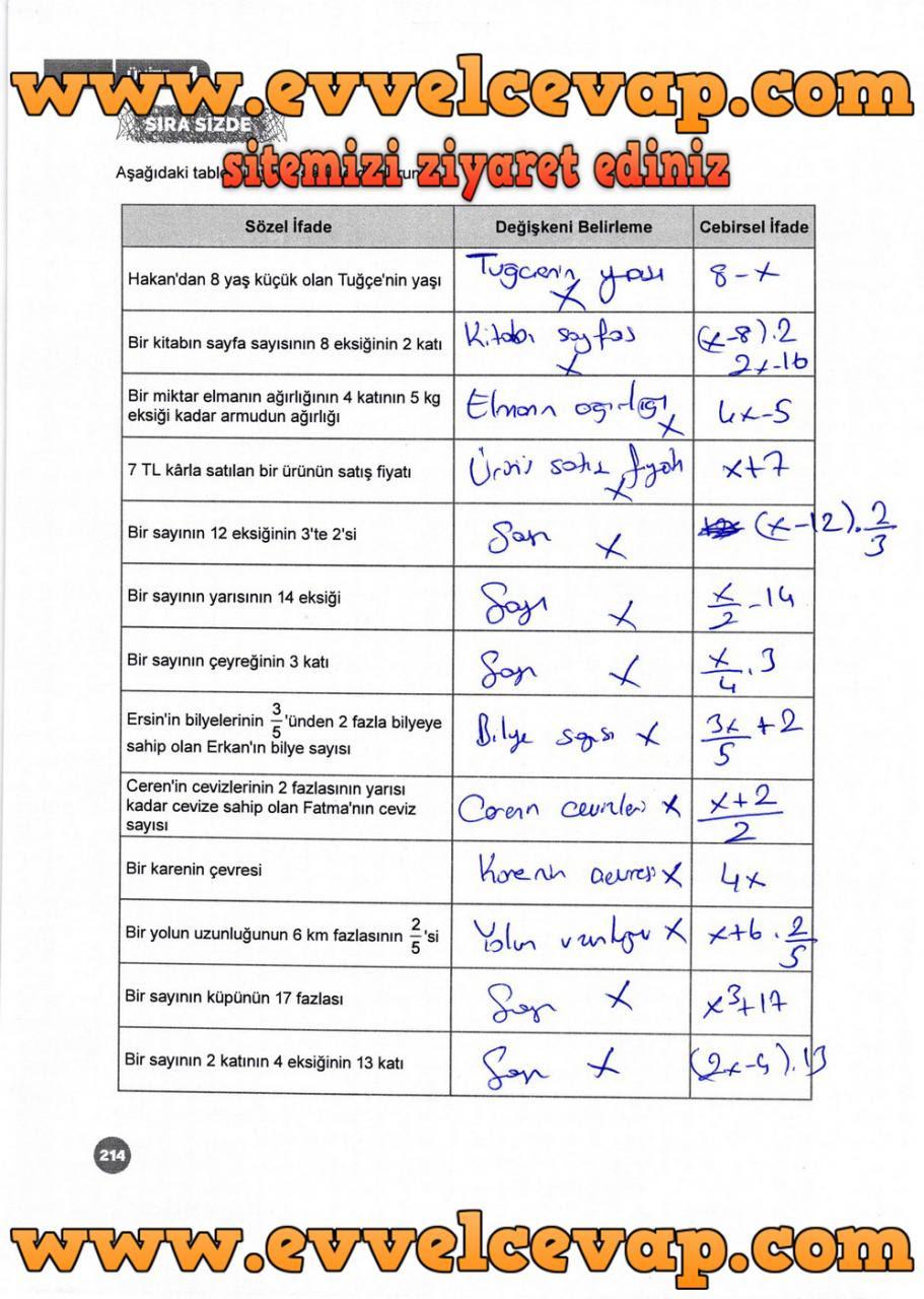 6 Sınıf Matematik Meb Yayınları Ders Kitabı Cevapları Sayfa 214