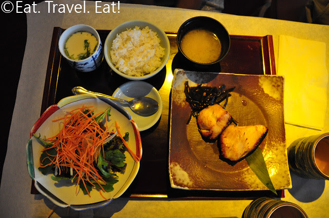 Broiled Black Cod Fish, Chawanmushi, and Salad