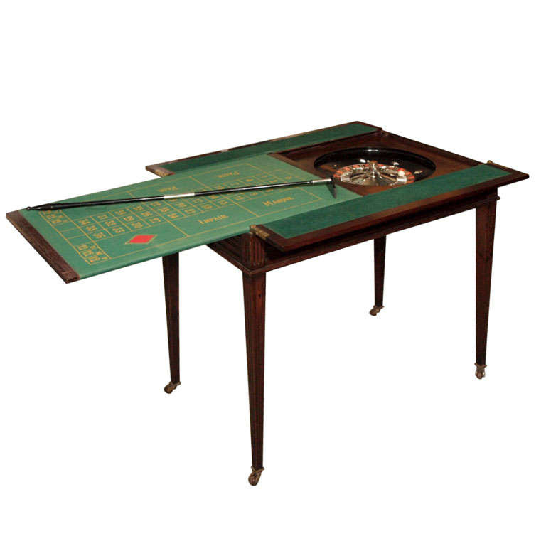 Antique English Mahogany Gentleman's Roulette Games Table at 1stdibs