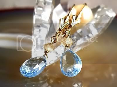 14K solid gold earrings with sky blue Topaz and Citrine