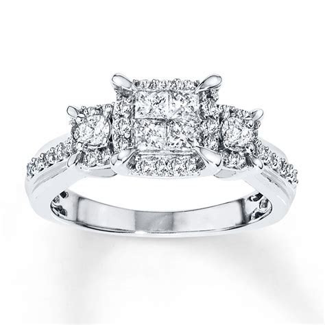 Diamond Engagement Ring 3/4 ct tw Princess cut 14K White