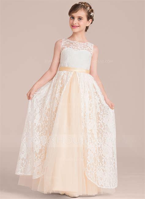 A Line/Princess Scoop Neck Floor Length Tulle Lace Junior