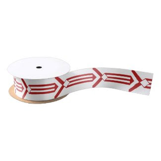 Red Stripes and Chevrons on White Blank Ribbon