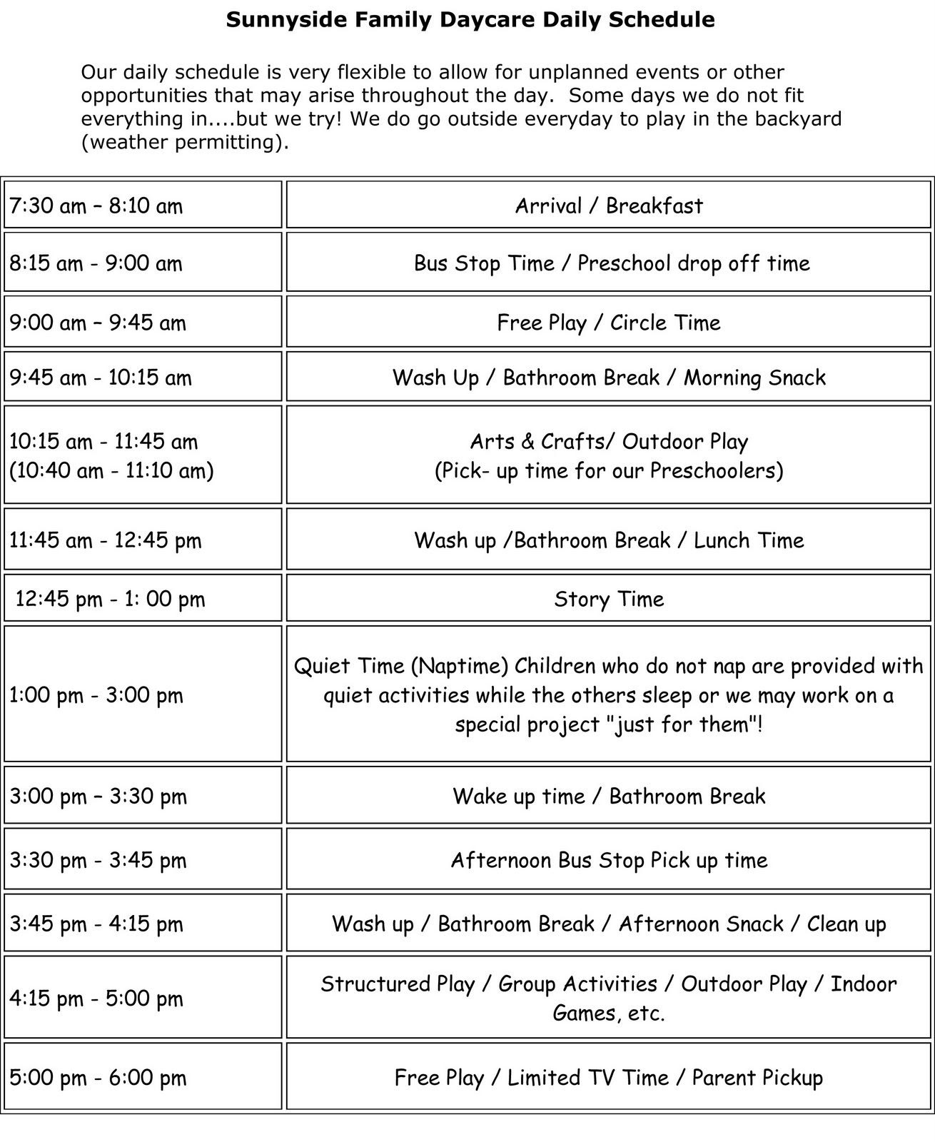 Daily Schedule Daycare   Daily Planner