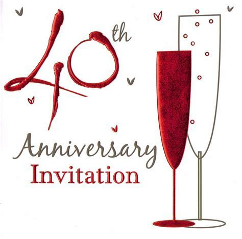 36 x ruby wedding anniversary invitation cards 40th party