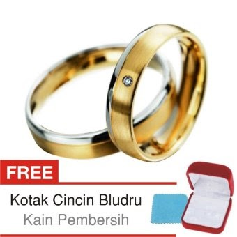 Harga Cincin Tunangan Couple Perak Lapis Emas D.06 Silver Exclusive Online Terbaik - courtoko