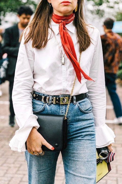 Le Fashion Blog Fall Street Style Lfw Long Bright Red Scarf Button Down Shirt With Flared Sleeves Ornate Belt Black Crossbody BagVia Vogue Spain