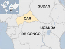Map of the Central African Republic, the DRC, Sudan and Uganda. The Ugandan army says it has killed a leading figure in the Lord's Resistance Army (LRA) in neighboring CAR. by Pan-African News Wire File Photos