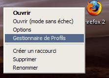 firefox raccourci profil