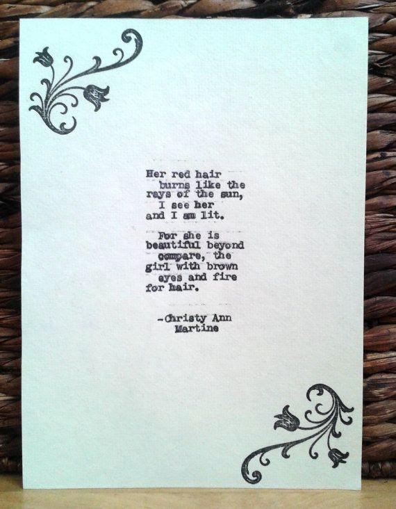 Red Hair Redhead Ginger Love Poem Spark of Adoration by Christy Ann ...
