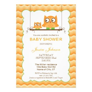 Mom and Baby Owls Unisex Baby Shower Invitation
