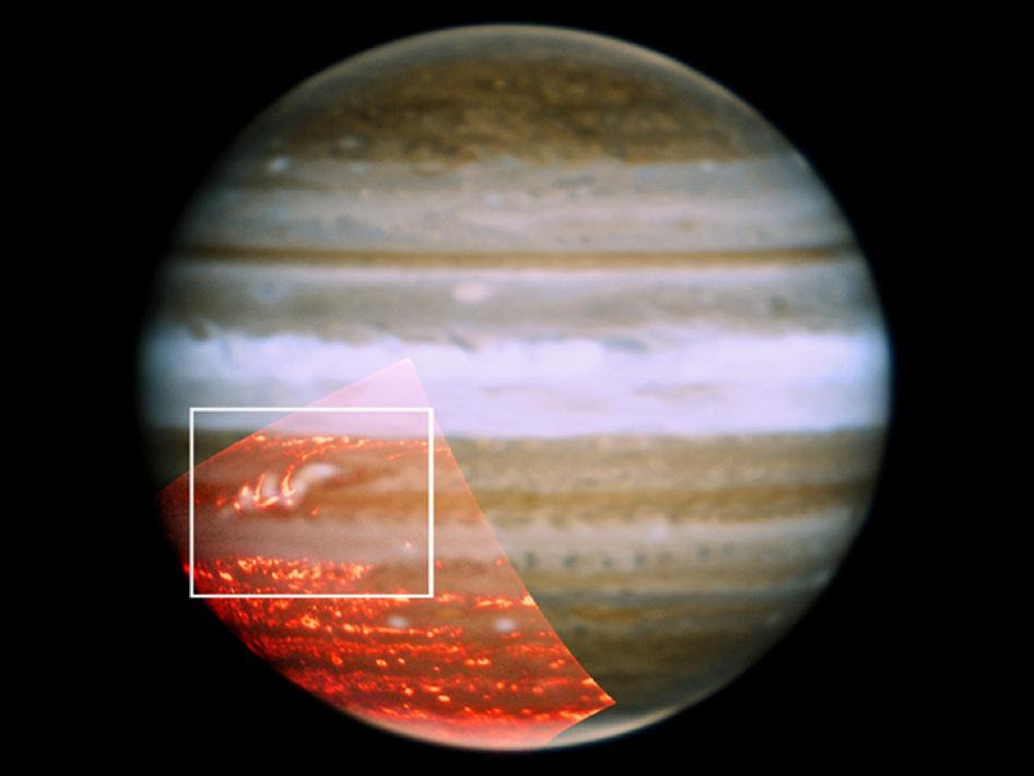 A composite of three color images of Jupiter