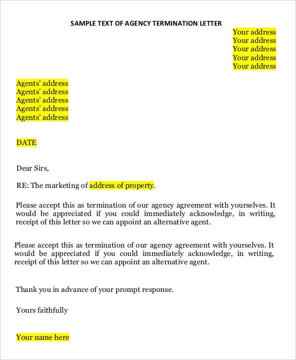 Insurance termination letter - insurance