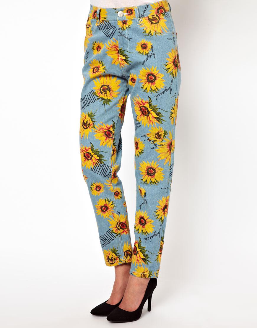 Joyrich Sunflower Print High Waisted Boyfriend Jeans at ...