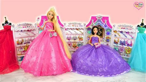 Princess Barbie Rapunzel Elsa Snow White doll Dress Up