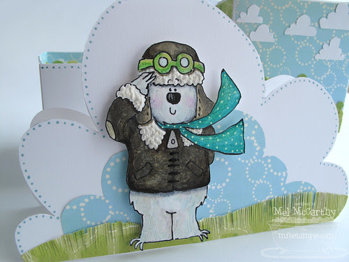 MFT Fred Bear in Flight cloud card CLOSE mel stampz