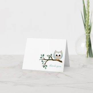 Blue Owl Thank You Card