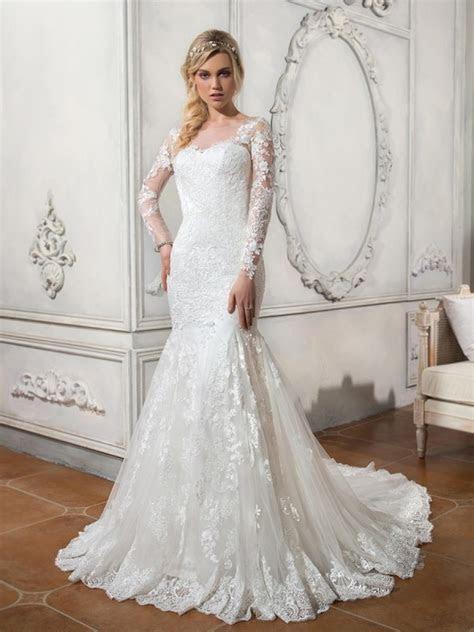 Long Sleeves Mermaid Illusion Neckline Lace Wedding