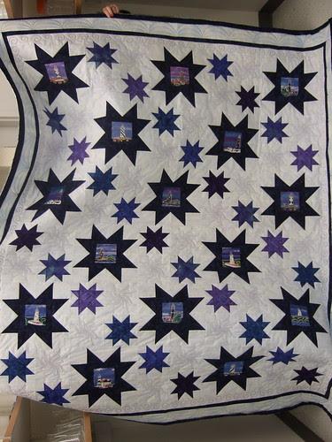 Blue lighthouse quilt finished