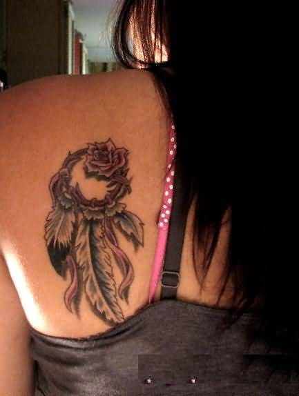 Lovely Famous Rose Flower With Dream Catcher Feather Tattoo For