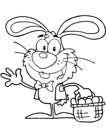 waving bunny with easter eggs and basket coloring page  free printable coloring pages